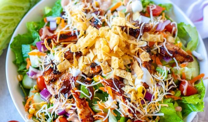 Easy BBQ Chicken Salad 680x400 - Palm Core For Your Salad